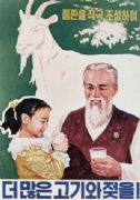 North Korean poster - More milk and meat, by positively expanding grassland!